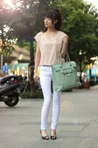 light blue bag - nude top - white pants