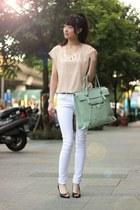 light blue bag - nude top - white pants