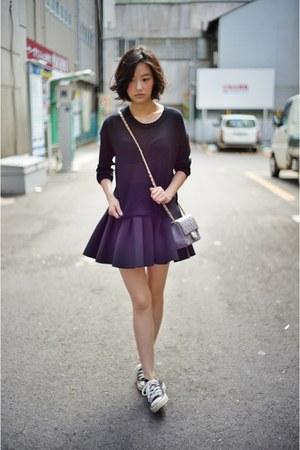 black H&M skirt - black pufii top