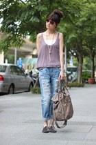 blue jeans - dark khaki bag - puce top