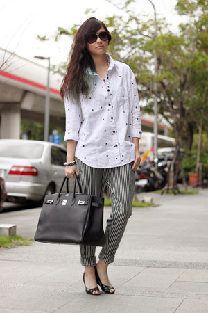white shirt - heather gray pants