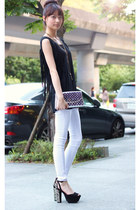 black shirt - silver bag - white pants
