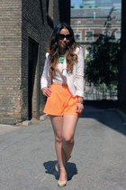 orange high waisted Forever 21 shorts - white BCBG blazer