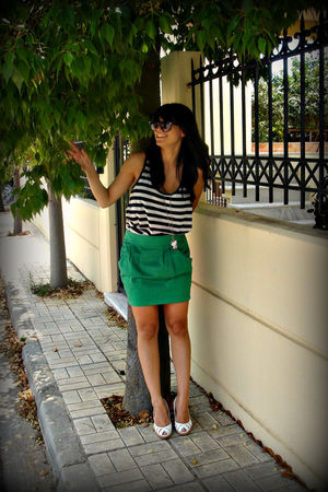 green skirt - white blouse - white shoes