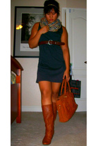 Cathy Jean boots - thrifted purse - thrifted dress - thrifted belt - Street Vend