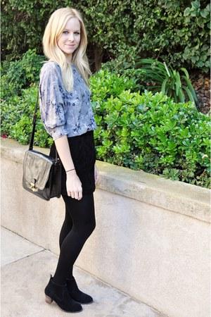 black DV Dolce Vita boots - black Plush tights - black Target purse