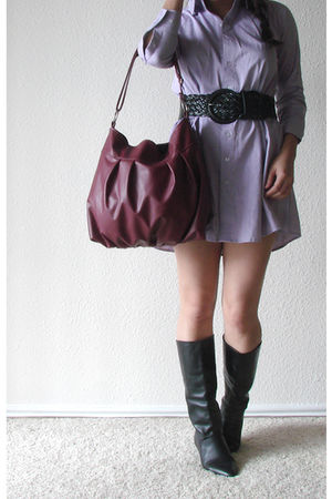 purple American Apparel dress - pink Jenny N Design purse - black Wet Seal belt