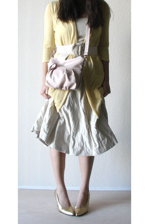 beige banana republic dress - yellow Charlotte Russe cardigan - pink Jenny N Des