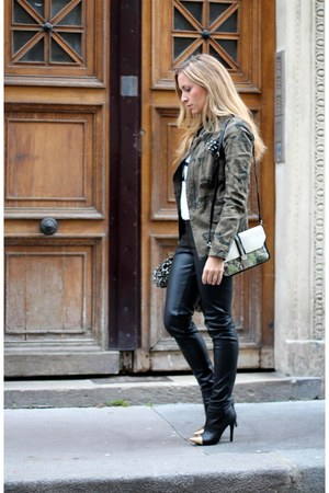 green Zara jacket - asoscom boots - asoscom bag - white asos top
