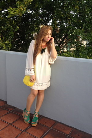 white Topshop dress - yellow Mango bag - teal Topshop wedges