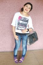 white Topshop top - black Forever 21 belt - blue Debenhams jeans - purple LYN at