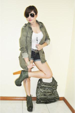 army green Zara jacket - white tank top Topshop top