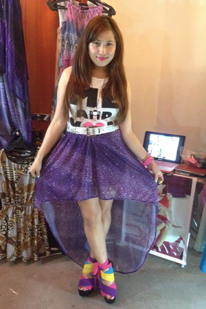 violet hi-lo chiffon K by J S skirt - white Topshop top