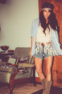 Light-blue-button-up-american-eagle-top-cream-crochet-tank-forever-21-top