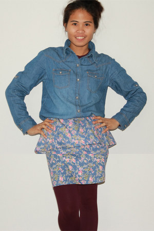 floral peplum skirt - blue chambray blouse