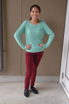 mint greenknit Clef de Sol sweater - TOMS shoes - burgundyskinny Uniqlo pants