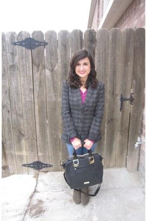 plaid blazer Target blazer - tall boot Payless boots - Target sweater