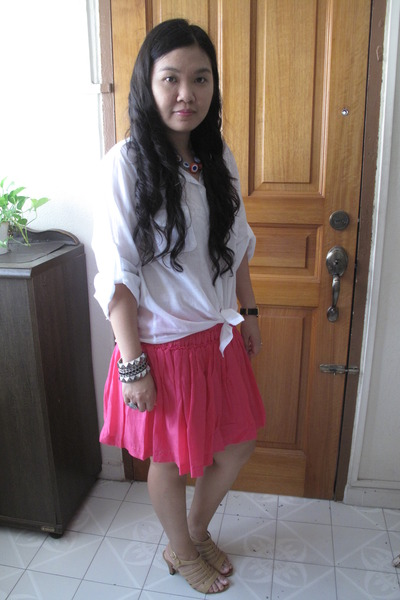 cotton on shirt - H&M skirt - DIY necklace