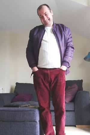 purple bomber Officers Club jacket - white rib knit River Island sweater