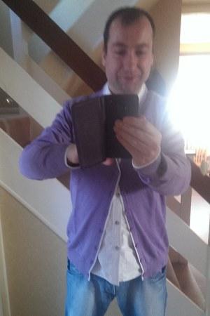 purple Vincenzo Boretti cardigan - blue H&M jeans - white oxford Burtons shirt