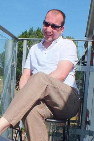 white polo Topman shirt - brown linen next pants