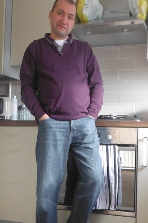 Burtons t-shirt - dark blue not sure jeans - River Island shirt