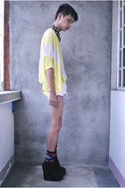 yellow mi 1983 top - white Forever 21 shorts - black Hong Kong socks