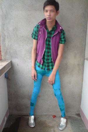 thrifted vest - F&H shirt - We Love Colors tights - WADE shoes