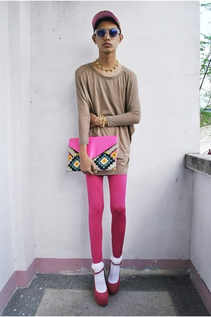 mpe leggings - Bubbles bag - F&H sunglasses - asianvogue shop wedges