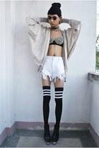 H&M jacket - thrifted shorts - punkxpretty bra - Fivebyfive wedges