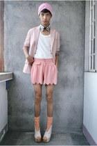 bubble gum paporma blazer - bubble gum thrifted shorts