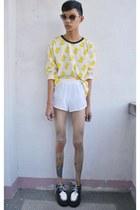 yellow push thru sweater