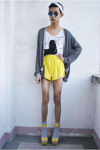 yellow Parisian wedges - cream gifi clothing top - cream punkxpretty accessories