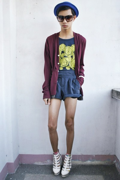 blue Forever 21 shorts - brick red Initial cardigan