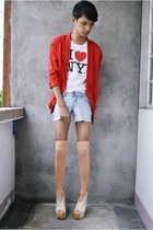 red Cestlavie blazer - sky blue Aeropostale shorts