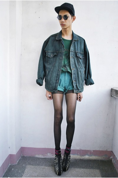 turquoise blue vintage jacket - black Gold Dot wedges