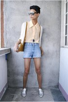 carrot orange vintage cardigan - blue versace shorts - black Spencer sunglasses