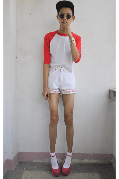 white jordache shorts - red nt shop top - bubble gum asianvogue shop wedges