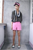 bubble gum thrifted shorts - white Hot Topic shoes - gray Wet Seal scarf
