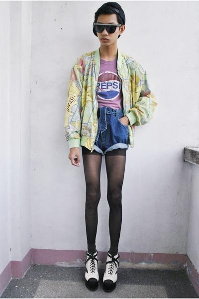 chartreuse mulberry street jacket - blue ho jo bo shorts - white Gold Dot wedges