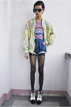 chartreuse mulberry street jacket - blue ho jo bo shorts - white Gold Dot wedges