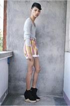 black Soule Phenomenon boots - orange thrifted shorts