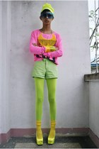 chartreuse NT SHOP hat - hot pink Victorias Secret sweater