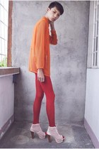 bubble gum asianvogue shop heels - carrot orange yee tang shirt
