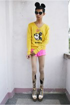yellow Disney sweater - ivory Andre Chang x F&H heels