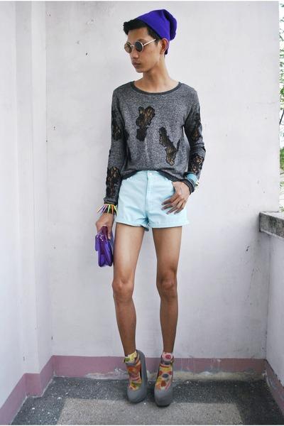 Rebel Gear hat - momo in the closet sweater - tks basics shorts