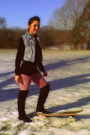 blue vest - pink tyte jeans - black Daytrip skirt - black BCBG sweater - black W