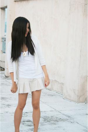 white Forever21 top - beige cinderella skirt - beige Anne Klein cardigan - beige