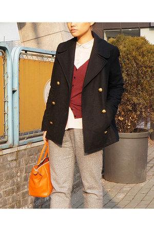 light pink H&M shirt - black Zara jacket - maroon H&M cardigan