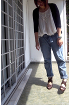 white Mirror dress - black HK cardigan - blue Mango jeans - brown Vincci shoes -